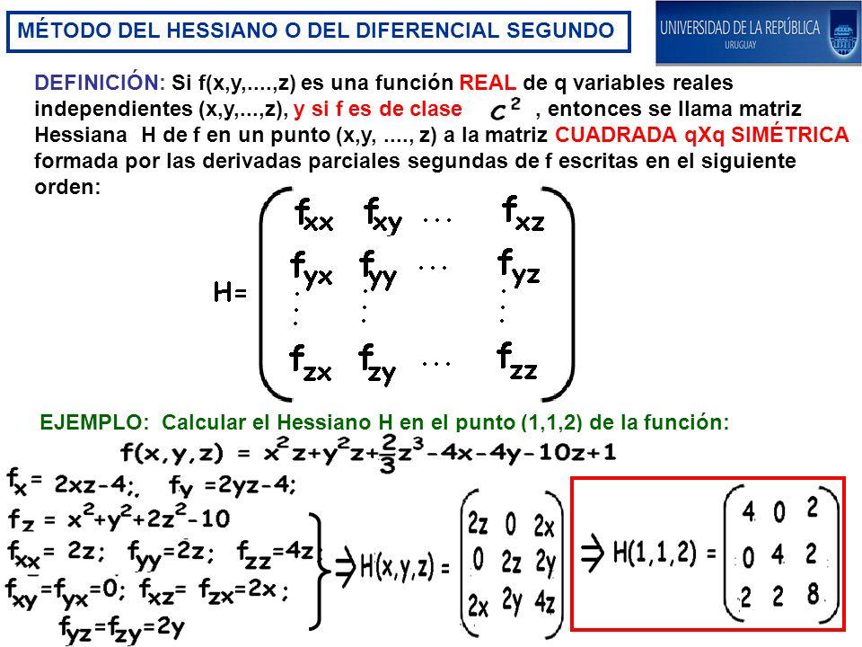 MÉTODO DEL HESSIANO O DEL DIFERENCIAL SEGUNDO DEFINICIÓN: Si f(x,y,....,z) es una función REAL de q variables reales independientes (x,y,...,z), y si