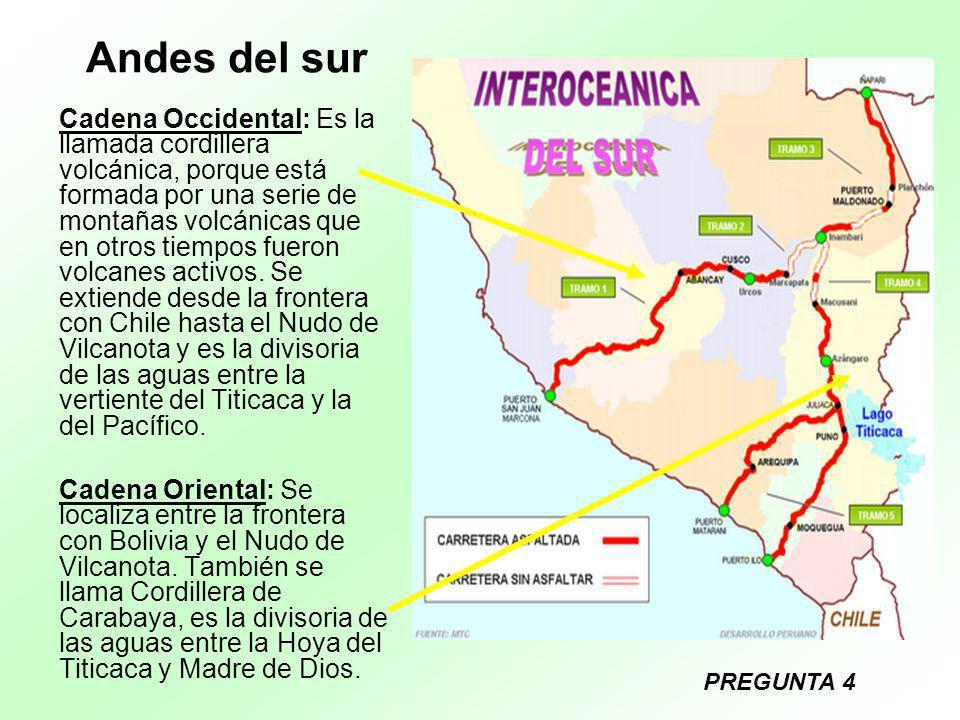 Andes del sur Cadena Occidental: Es la llamada cordillera volcánica, porque está formada por una serie de montañas volcánicas que en otros tiempos fue