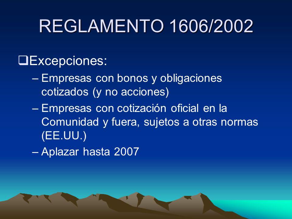 REGLAMENTO 1606/2002 Excepciones: –Empresas con bonos y obligaciones cotizados (y no acciones) –Empresas con cotización oficial en la Comunidad y fuer
