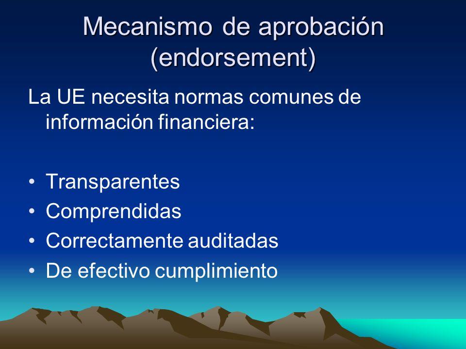 Mecanismo de aprobación (endorsement) La UE necesita normas comunes de información financiera: Transparentes Comprendidas Correctamente auditadas De e