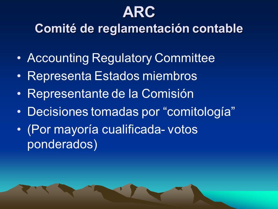 ARC Comité de reglamentación contable Accounting Regulatory Committee Representa Estados miembros Representante de la Comisión Decisiones tomadas por
