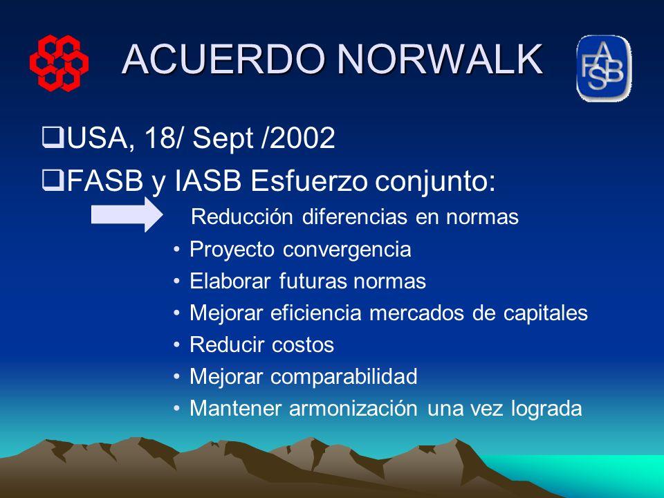 ACUERDO NORWALK USA, 18/ Sept /2002 FASB y IASB Esfuerzo conjunto: Reducción diferencias en normas Proyecto convergencia Elaborar futuras normas Mejor