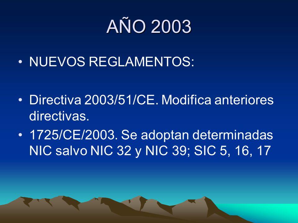 AÑO 2003 NUEVOS REGLAMENTOS: Directiva 2003/51/CE. Modifica anteriores directivas. 1725/CE/2003. Se adoptan determinadas NIC salvo NIC 32 y NIC 39; SI