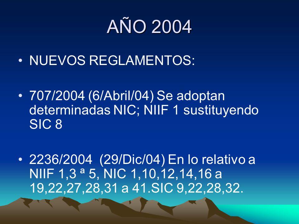 AÑO 2004 NUEVOS REGLAMENTOS: 707/2004 (6/Abril/04) Se adoptan determinadas NIC; NIIF 1 sustituyendo SIC 8 2236/2004 (29/Dic/04) En lo relativo a NIIF