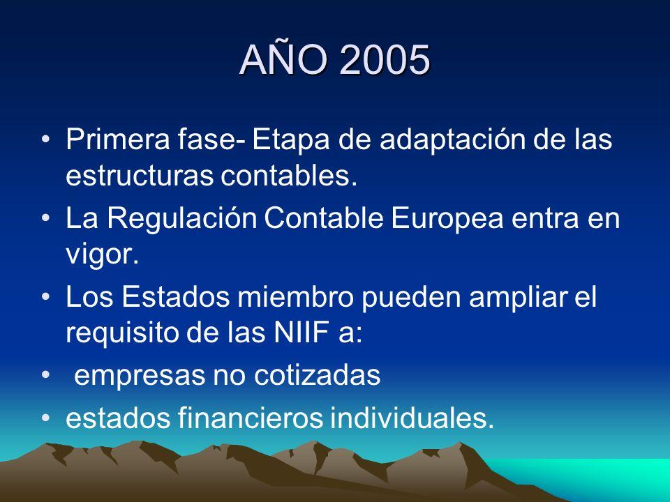 AÑO 2005 Primera fase- Etapa de adaptación de las estructuras contables. La Regulación Contable Europea entra en vigor. Los Estados miembro pueden amp