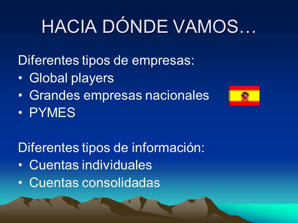 HACIA DÓNDE VAMOS… Diferentes tipos de empresas: Global players Grandes empresas nacionales PYMES Diferentes tipos de información: Cuentas individuale