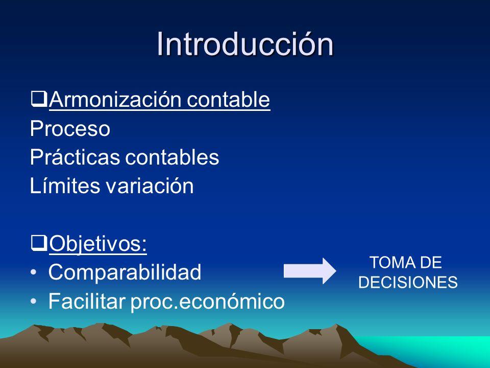 Introducción Armonización contable Proceso Prácticas contables Límites variación Objetivos: Comparabilidad Facilitar proc.económico TOMA DE DECISIONES