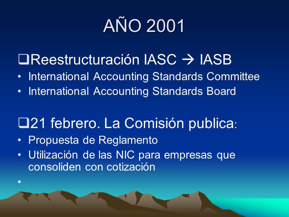 AÑO 2001 Reestructuración IASC IASB International Accounting Standards Committee International Accounting Standards Board 21 febrero. La Comisión publ