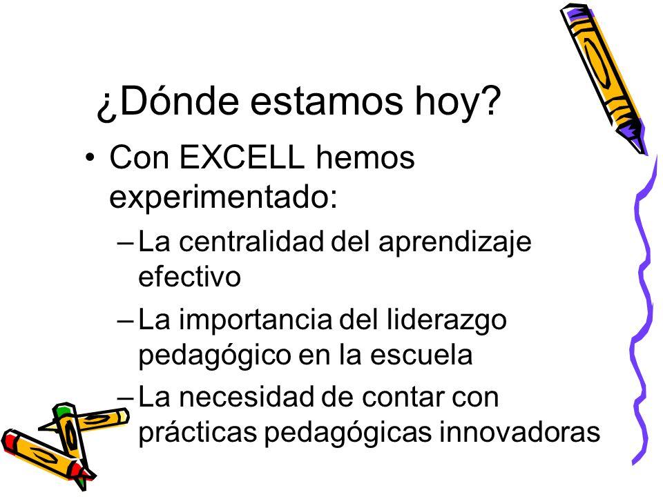 ¿Dónde estamos hoy? Con EXCELL hemos experimentado: –La centralidad del aprendizaje efectivo –La importancia del liderazgo pedagógico en la escuela –L