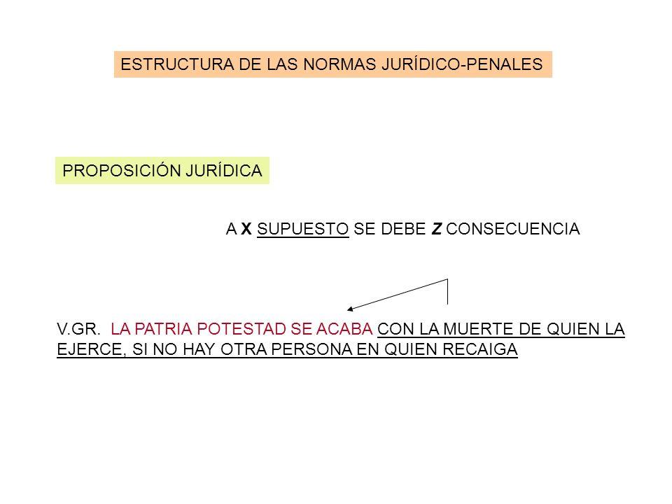 ESTRUCTURA DE LAS NORMAS JURÍDICO-PENALES PROPOSICIÓN JURÍDICA A X SUPUESTO SE DEBE Z CONSECUENCIA V.GR. LA PATRIA POTESTAD SE ACABA CON LA MUERTE DE