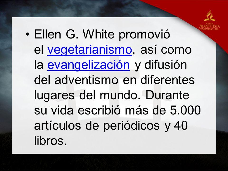 Ellen G. White promovió el vegetarianismo, así como la evangelización y difusión del adventismo en diferentes lugares del mundo. Durante su vida escri