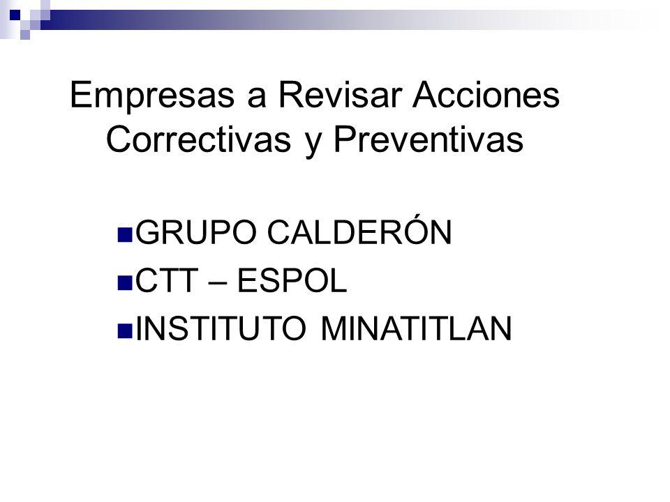 Empresas a Revisar Acciones Correctivas y Preventivas GRUPO CALDERÓN CTT – ESPOL INSTITUTO MINATITLAN