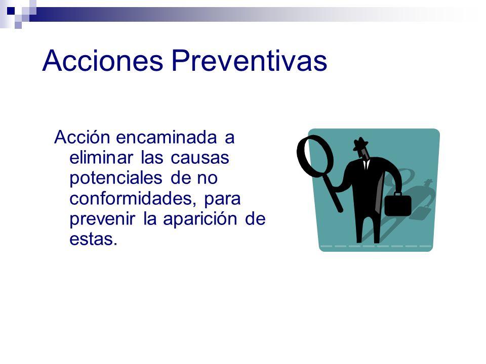 Acciones Preventivas Acción encaminada a eliminar las causas potenciales de no conformidades, para prevenir la aparición de estas.