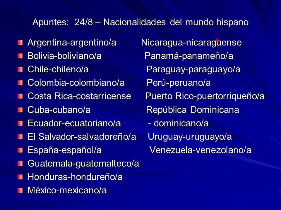 Apuntes: 24/8 – Nacionalidades del mundo hispano Argentina-argentino/a Nicaragua-nicaraguense Bolivia-boliviano/a Panamá-panameño/a Chile-chileno/a Pa