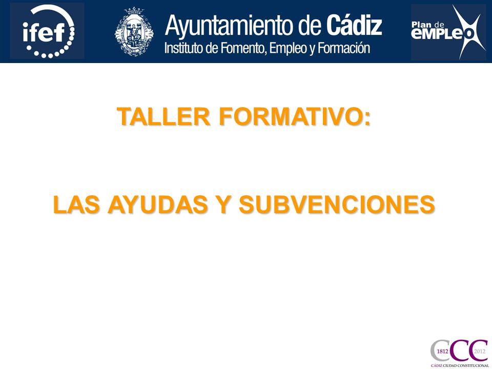 TALLER FORMATIVO: LAS AYUDAS Y SUBVENCIONES