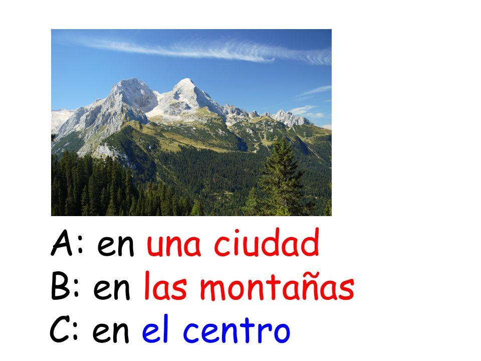 A: en una ciudad B: en las montañas C: en el centro