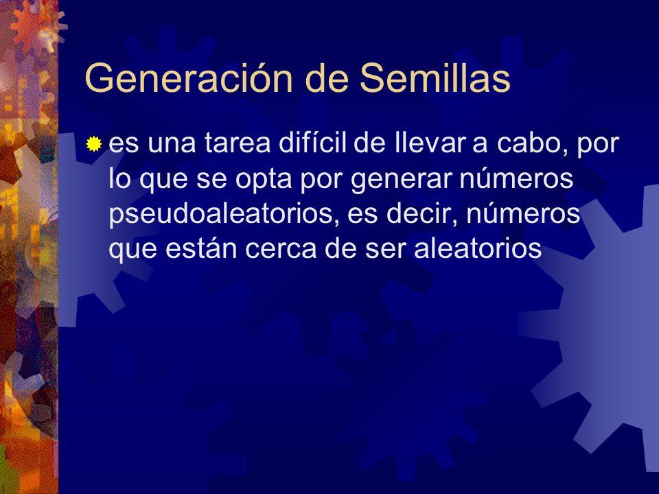 Generación de Semillas es una tarea difícil de llevar a cabo, por lo que se opta por generar números pseudoaleatorios, es decir, números que están cer