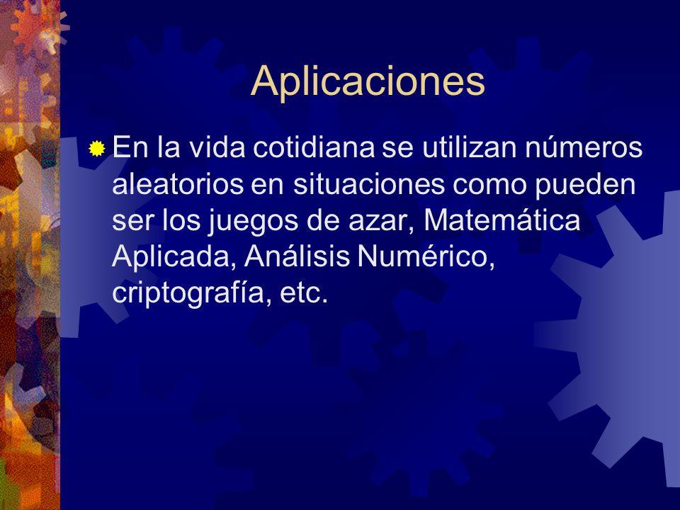 Aplicaciones En la vida cotidiana se utilizan números aleatorios en situaciones como pueden ser los juegos de azar, Matemática Aplicada, Análisis Numérico, criptografía, etc.