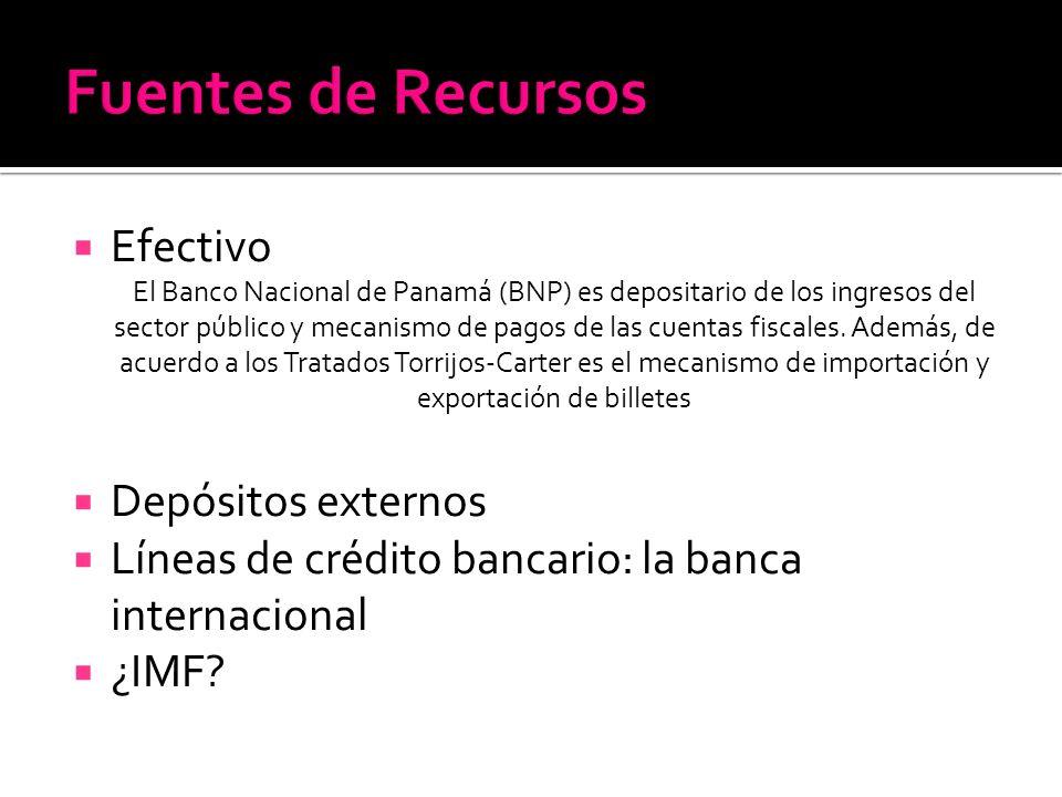Efectivo El Banco Nacional de Panamá (BNP) es depositario de los ingresos del sector público y mecanismo de pagos de las cuentas fiscales. Además, de