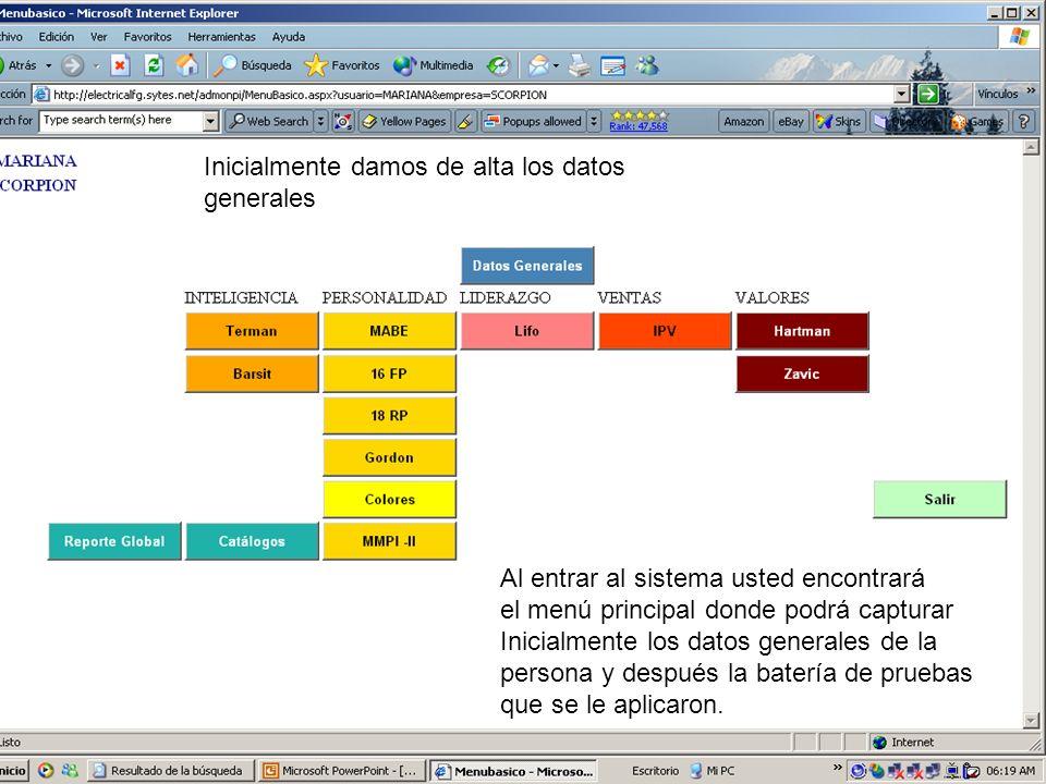 Entramos al modulo de gráfica que nos muestra sus resultado de la persona al aplicarle la prueba.