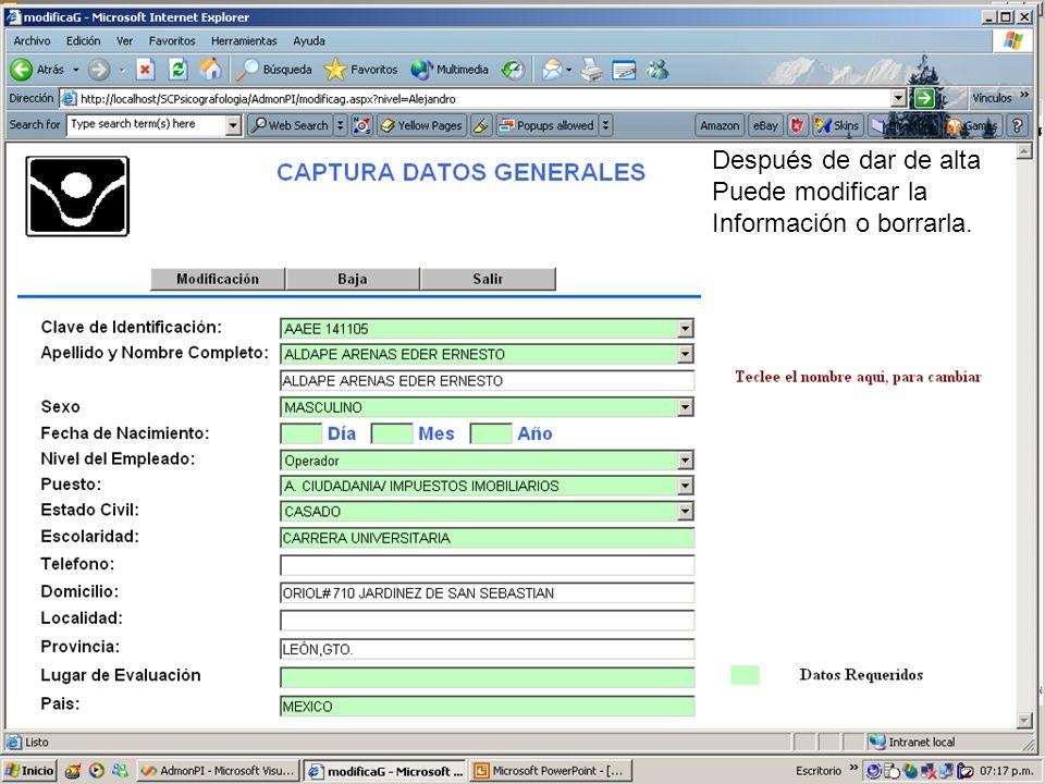 En está pantalla puede clasificar y buscar a la persona o al personal de su interés.