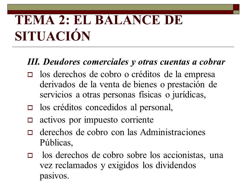 TEMA 2: EL BALANCE DE SITUACIÓN III. Deudores comerciales y otras cuentas a cobrar los derechos de cobro o créditos de la empresa derivados de la vent