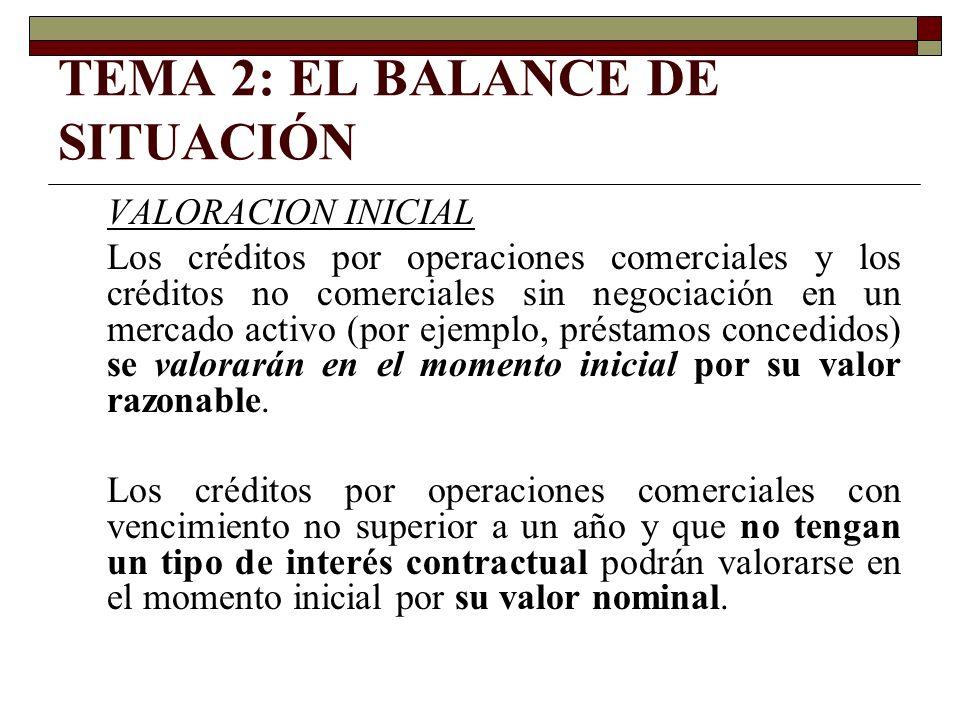 TEMA 2: EL BALANCE DE SITUACIÓN VALORACION INICIAL Los créditos por operaciones comerciales y los créditos no comerciales sin negociación en un mercad