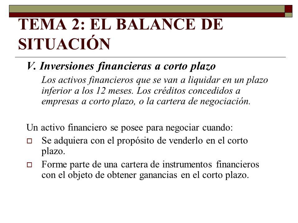 TEMA 2: EL BALANCE DE SITUACIÓN V. Inversiones financieras a corto plazo Los activos financieros que se van a liquidar en un plazo inferior a los 12 m