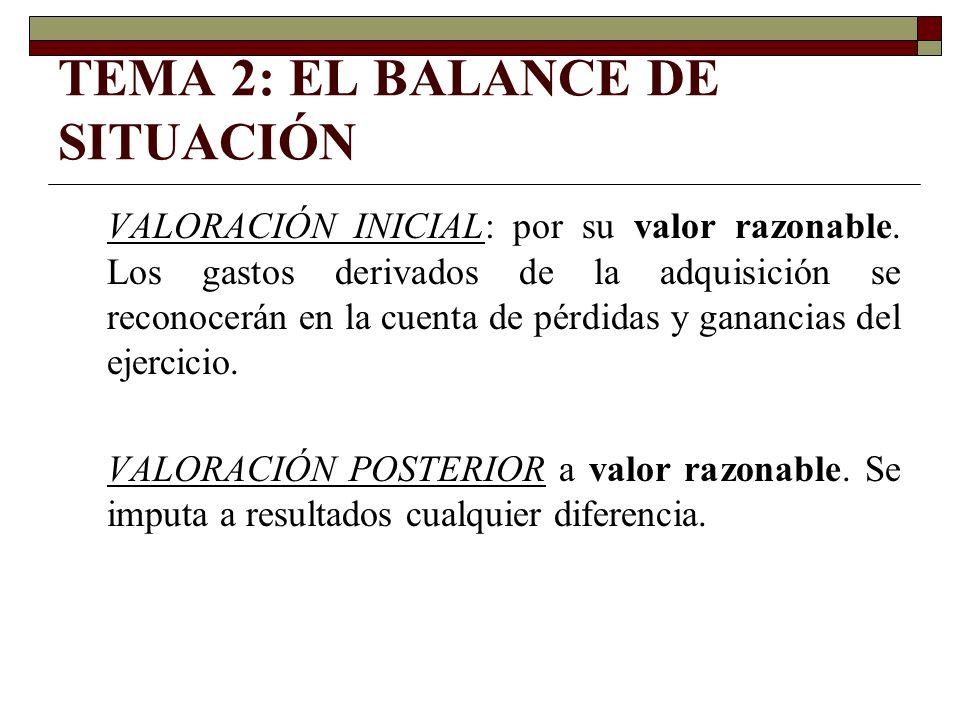 TEMA 2: EL BALANCE DE SITUACIÓN VALORACIÓN INICIAL: por su valor razonable. Los gastos derivados de la adquisición se reconocerán en la cuenta de pérd