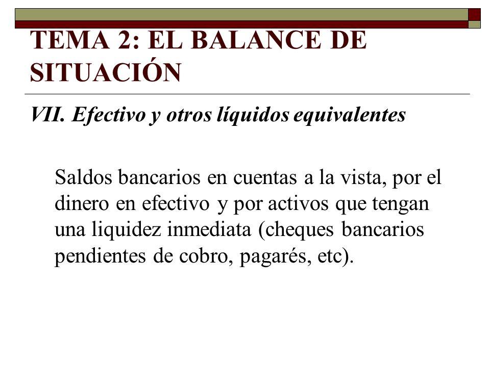 TEMA 2: EL BALANCE DE SITUACIÓN VII. Efectivo y otros líquidos equivalentes Saldos bancarios en cuentas a la vista, por el dinero en efectivo y por ac