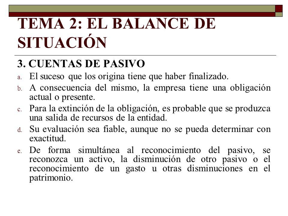 TEMA 2: EL BALANCE DE SITUACIÓN 3. CUENTAS DE PASIVO a. El suceso que los origina tiene que haber finalizado. b. A consecuencia del mismo, la empresa
