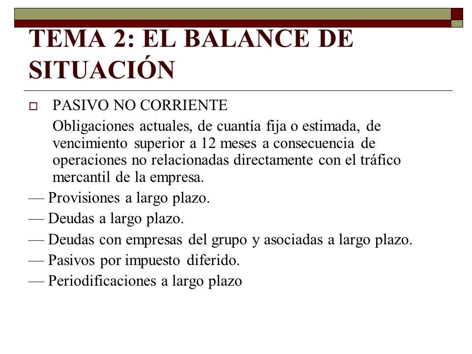TEMA 2: EL BALANCE DE SITUACIÓN PASIVO NO CORRIENTE Obligaciones actuales, de cuantía fija o estimada, de vencimiento superior a 12 meses a consecuenc