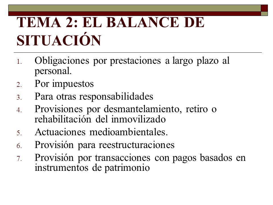 TEMA 2: EL BALANCE DE SITUACIÓN 1. Obligaciones por prestaciones a largo plazo al personal. 2. Por impuestos 3. Para otras responsabilidades 4. Provis