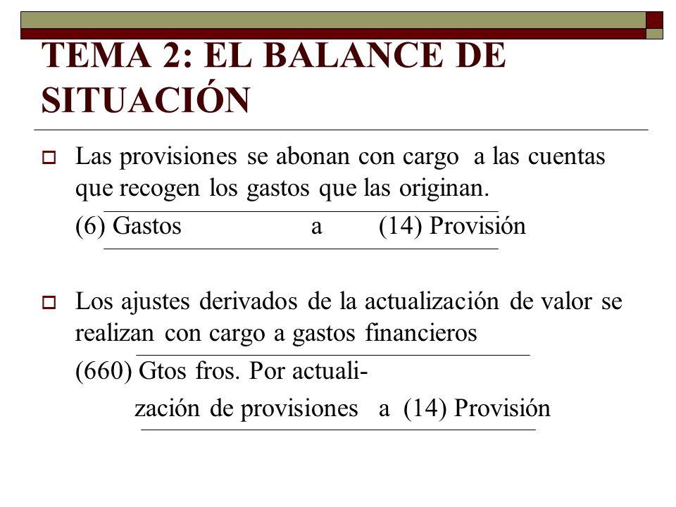 TEMA 2: EL BALANCE DE SITUACIÓN Las provisiones se abonan con cargo a las cuentas que recogen los gastos que las originan. (6) Gastosa (14) Provisión