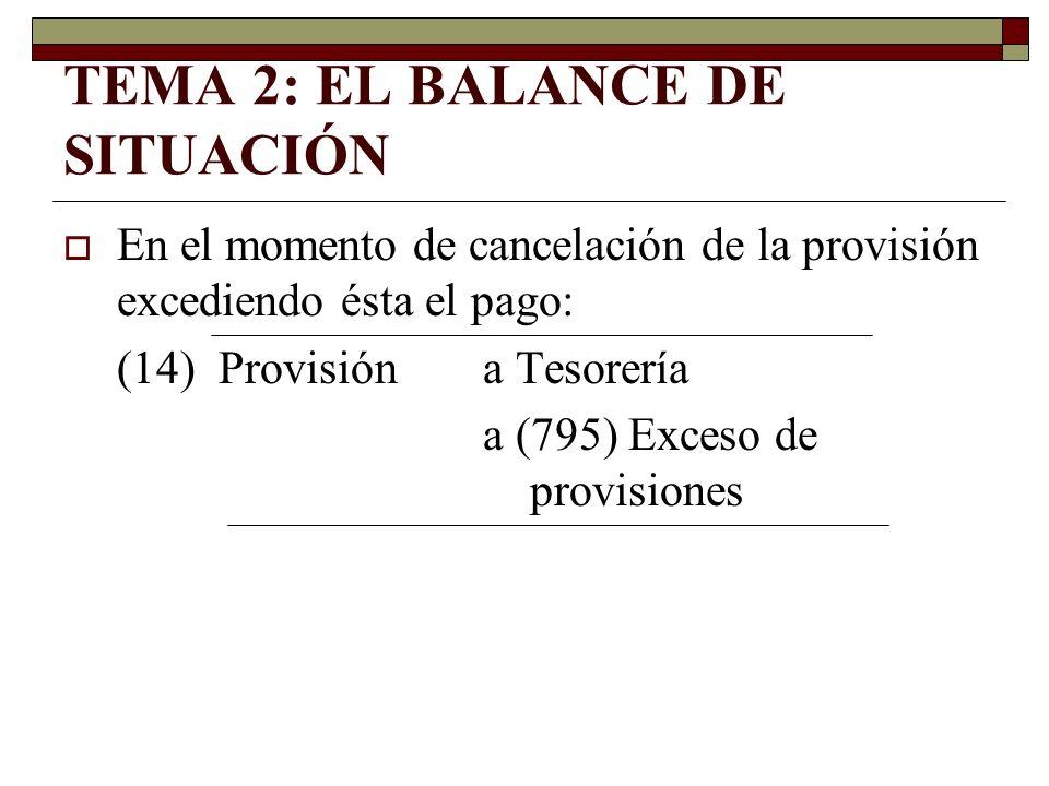 TEMA 2: EL BALANCE DE SITUACIÓN En el momento de cancelación de la provisión excediendo ésta el pago: (14) Provisióna Tesorería a (795) Exceso de prov