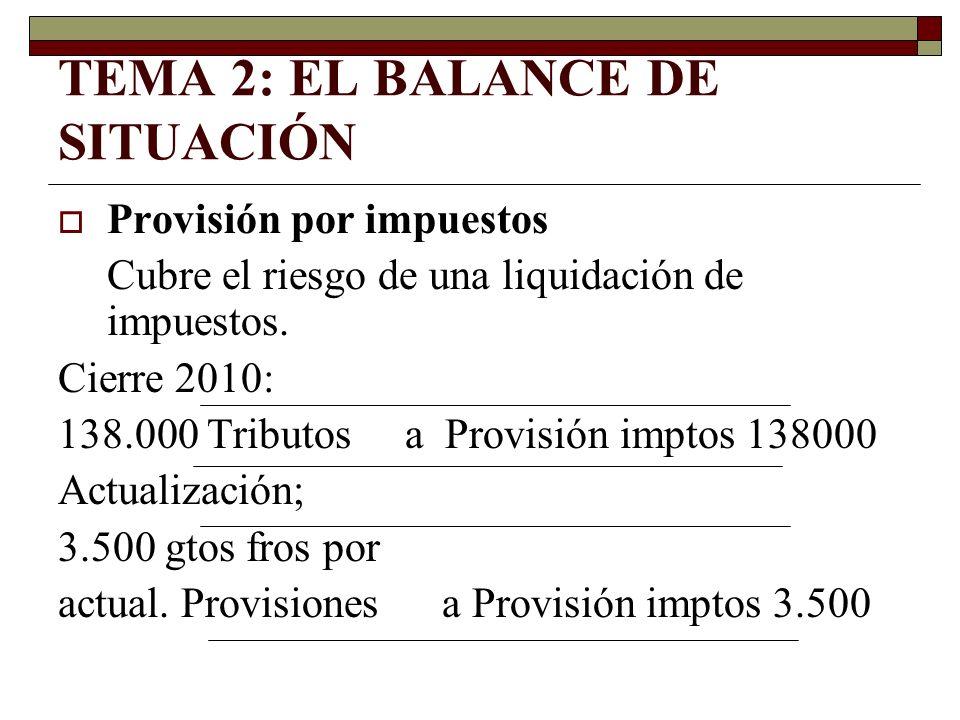 TEMA 2: EL BALANCE DE SITUACIÓN Provisión por impuestos Cubre el riesgo de una liquidación de impuestos. Cierre 2010: 138.000 Tributos a Provisión imp