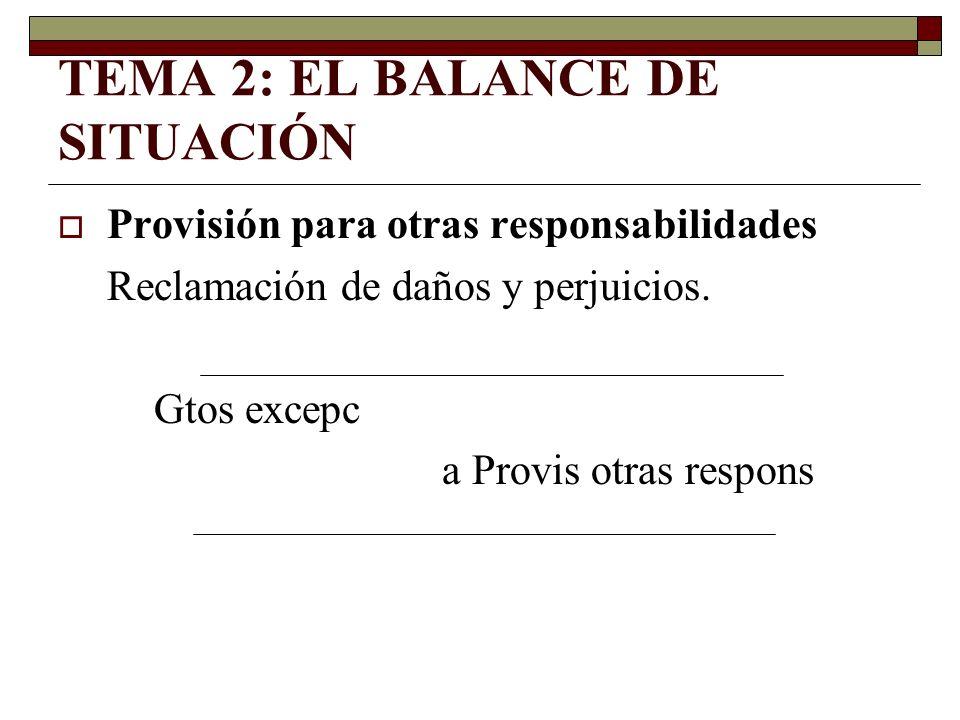 TEMA 2: EL BALANCE DE SITUACIÓN Provisión para otras responsabilidades Reclamación de daños y perjuicios. Gtos excepc a Provis otras respons