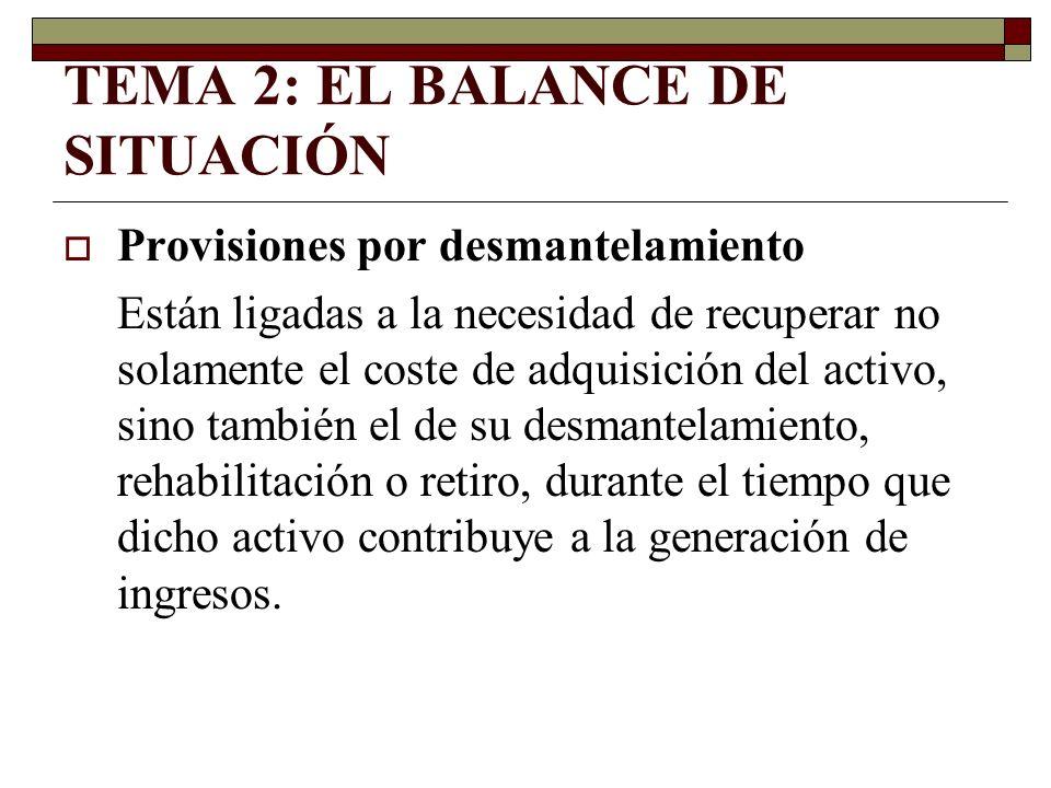 TEMA 2: EL BALANCE DE SITUACIÓN Provisiones por desmantelamiento Están ligadas a la necesidad de recuperar no solamente el coste de adquisición del ac