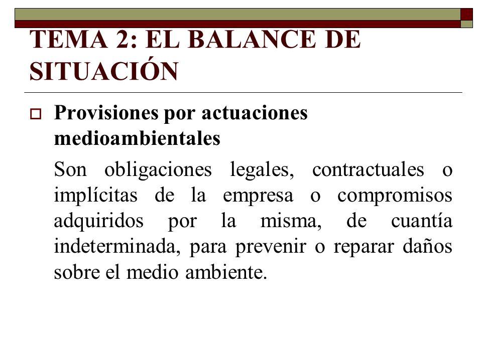 Provisiones por actuaciones medioambientales Son obligaciones legales, contractuales o implícitas de la empresa o compromisos adquiridos por la misma,