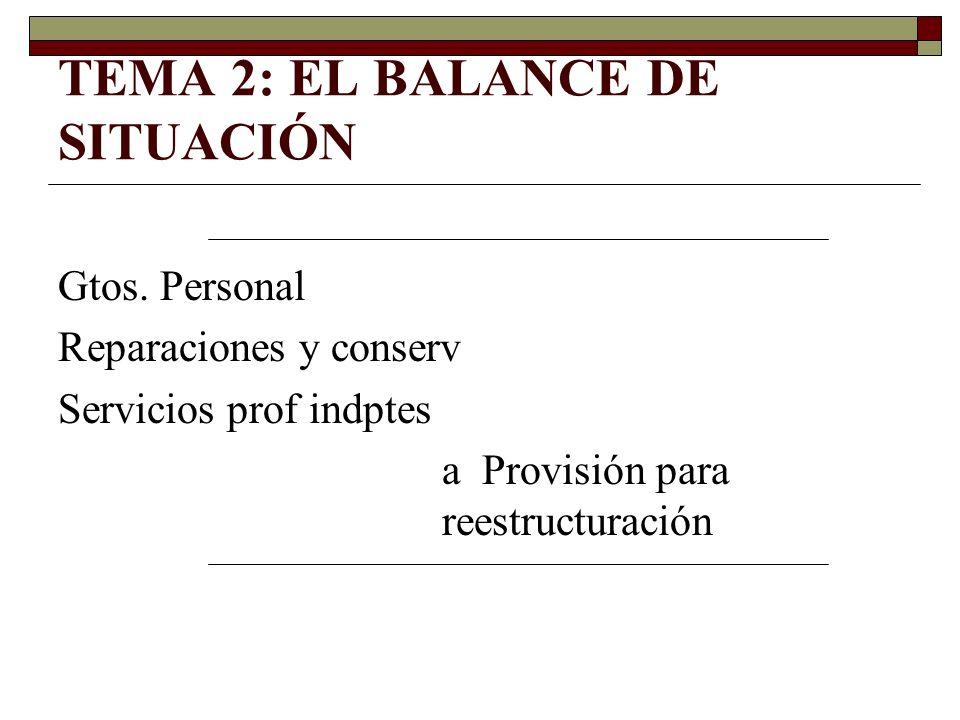 TEMA 2: EL BALANCE DE SITUACIÓN Gtos. Personal Reparaciones y conserv Servicios prof indptes a Provisión para reestructuración