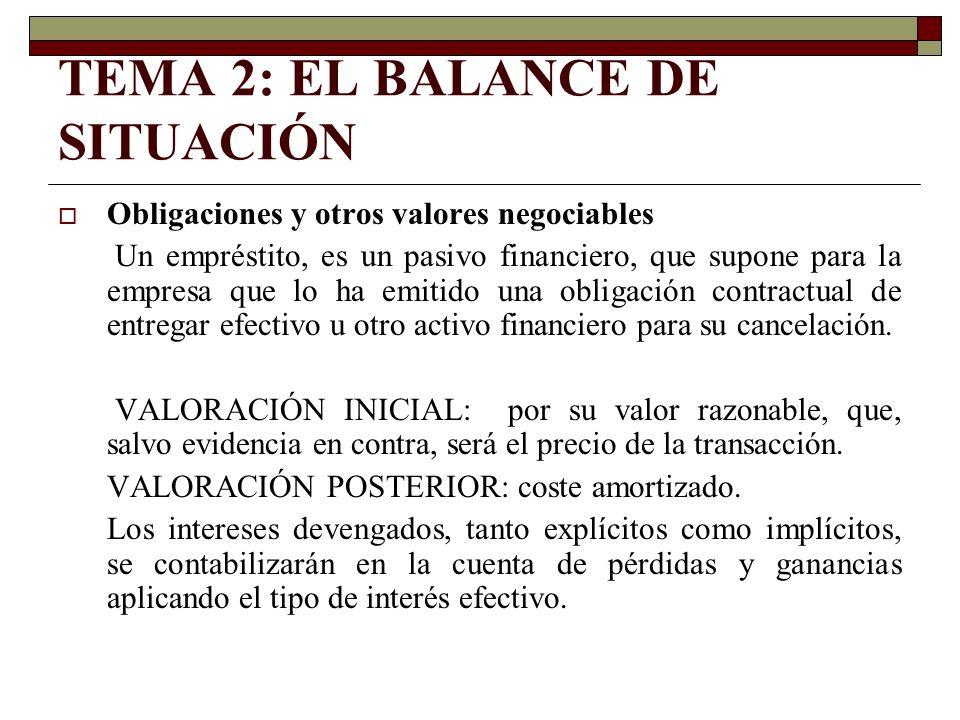 TEMA 2: EL BALANCE DE SITUACIÓN Obligaciones y otros valores negociables Un empréstito, es un pasivo financiero, que supone para la empresa que lo ha
