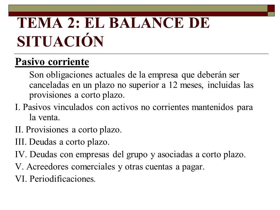 TEMA 2: EL BALANCE DE SITUACIÓN Pasivo corriente Son obligaciones actuales de la empresa que deberán ser canceladas en un plazo no superior a 12 meses