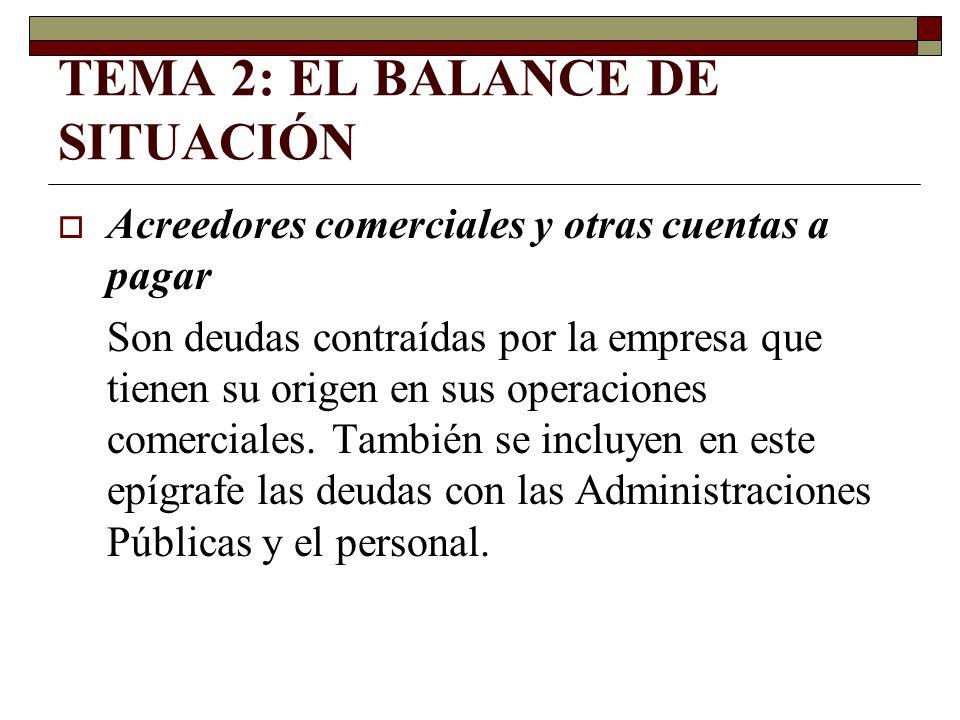 TEMA 2: EL BALANCE DE SITUACIÓN Acreedores comerciales y otras cuentas a pagar Son deudas contraídas por la empresa que tienen su origen en sus operac