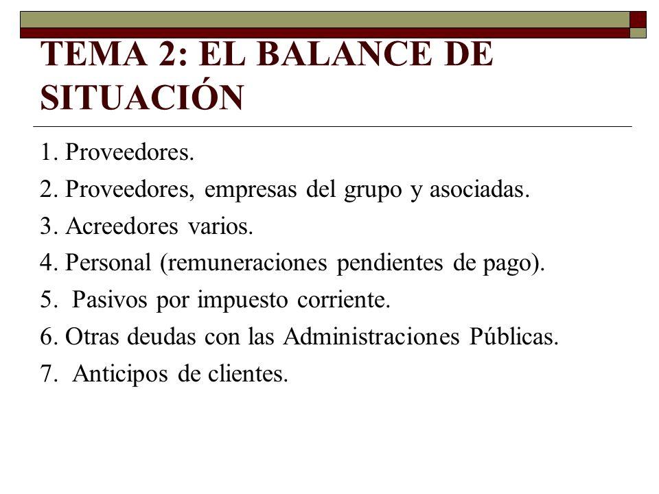 TEMA 2: EL BALANCE DE SITUACIÓN 1. Proveedores. 2. Proveedores, empresas del grupo y asociadas. 3. Acreedores varios. 4. Personal (remuneraciones pend