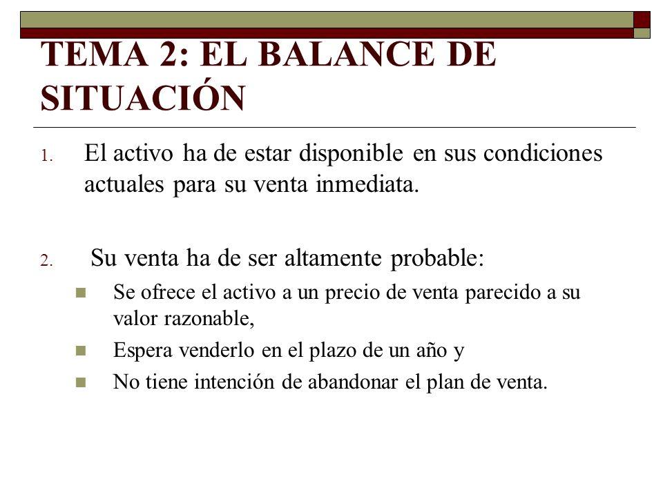 TEMA 2: EL BALANCE DE SITUACIÓN 1. El activo ha de estar disponible en sus condiciones actuales para su venta inmediata. 2. Su venta ha de ser altamen
