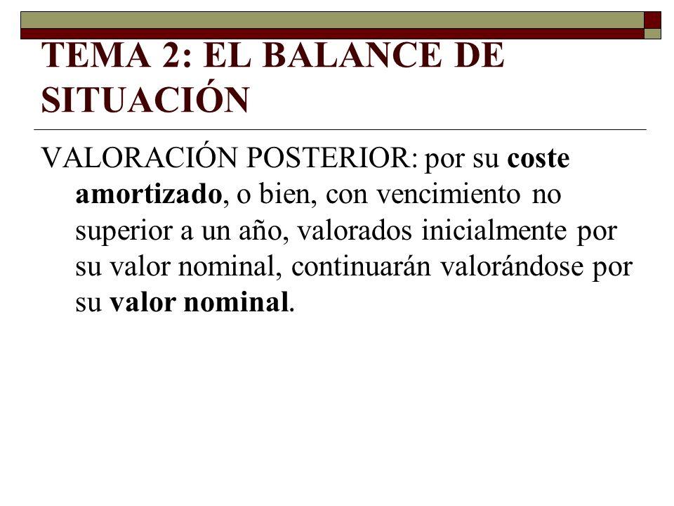 TEMA 2: EL BALANCE DE SITUACIÓN VALORACIÓN POSTERIOR: por su coste amortizado, o bien, con vencimiento no superior a un año, valorados inicialmente po
