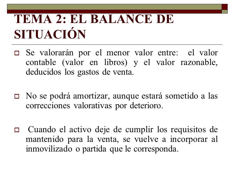 TEMA 2: EL BALANCE DE SITUACIÓN Se valorarán por el menor valor entre: el valor contable (valor en libros) y el valor razonable, deducidos los gastos