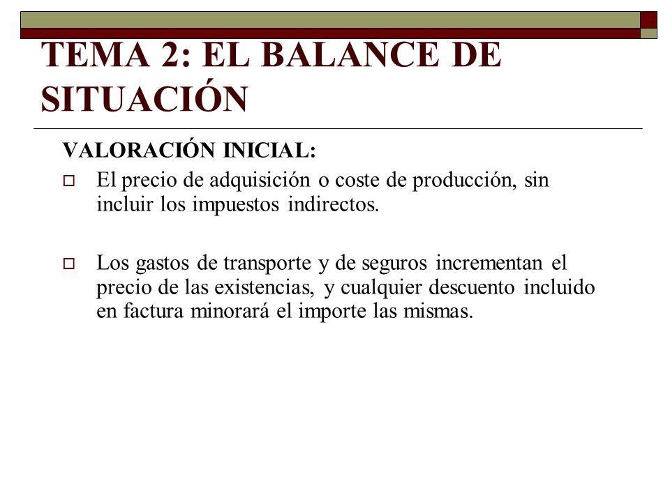TEMA 2: EL BALANCE DE SITUACIÓN Cuando el valor neto realizable (precio venta) de las existencias sea inferior a su precio de adquisición o coste de producción, se deberá practicar corrección valorativa.
