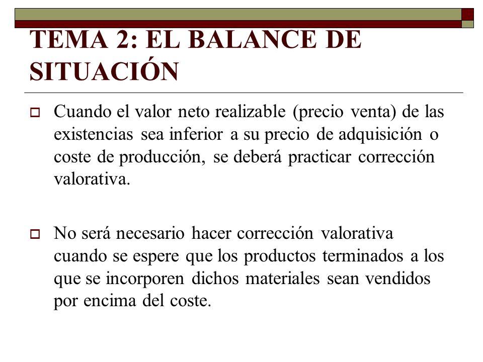 TEMA 2: EL BALANCE DE SITUACIÓN Cuando el valor neto realizable (precio venta) de las existencias sea inferior a su precio de adquisición o coste de p