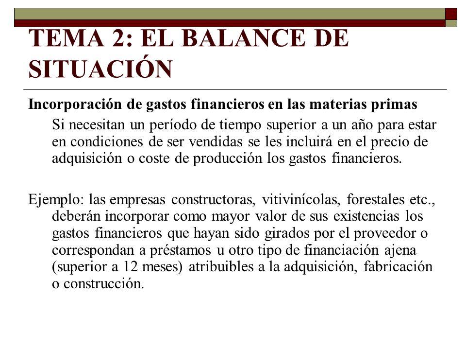 TEMA 2: EL BALANCE DE SITUACIÓN Incorporación de gastos financieros en las materias primas Si necesitan un período de tiempo superior a un año para es